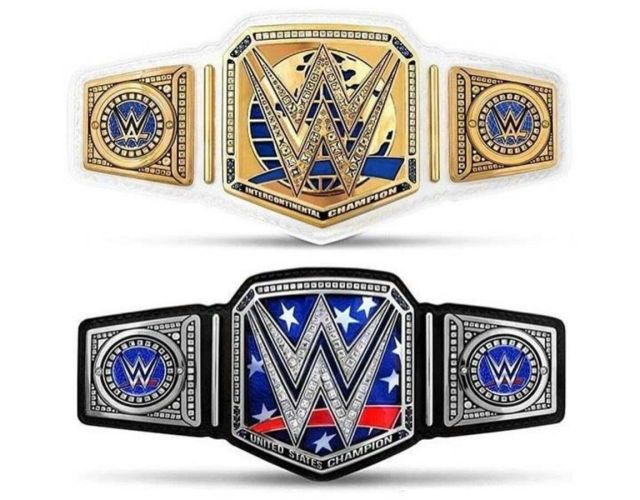 The photos above are potential new championship designs for the WWE Intercontinental Championship and WWE United States Championship. Personally, I think both of them are pretty sick.