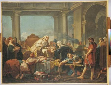 Cléobis et Biton conduisent le char de leur mère au temple de Junon Alizard Jean-Baptiste (18e siècle)