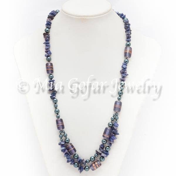Blue gem stone with handmade glass beads