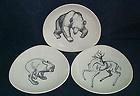 Vintage 50's Stavangerflint Pottery Bear Hare Reindeer Plates Fern-ville Lines