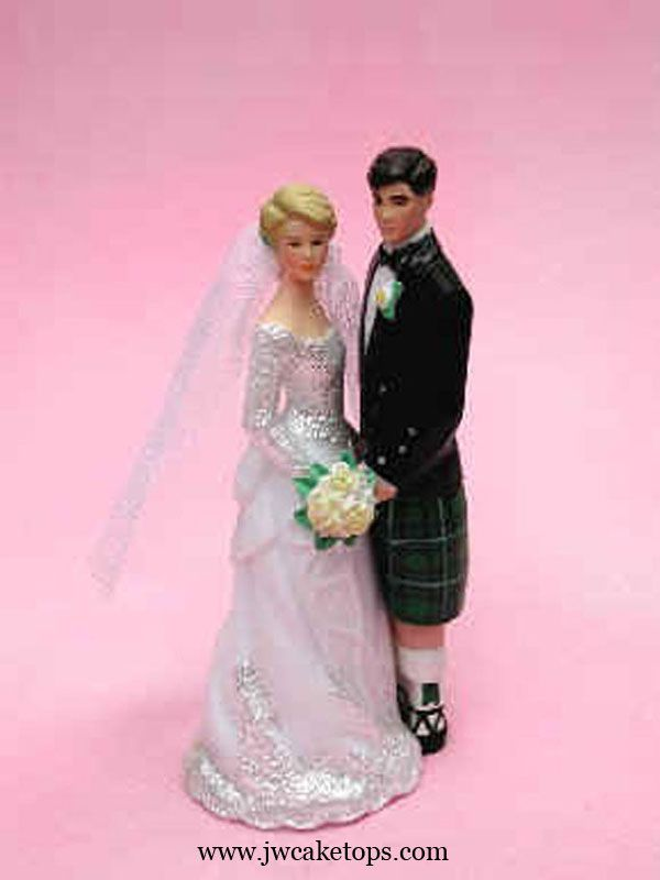 Our Day Scottish Green Kilt Bride and Groom Wedding Cake Topper