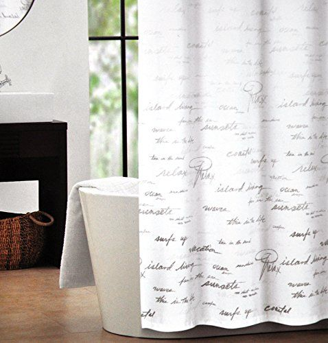 Tahari Fabric Shower Curtain Gray Words Writing On White