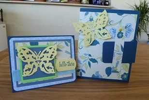 Handmade Butterfly Note Cards (6) - Matching Note Box