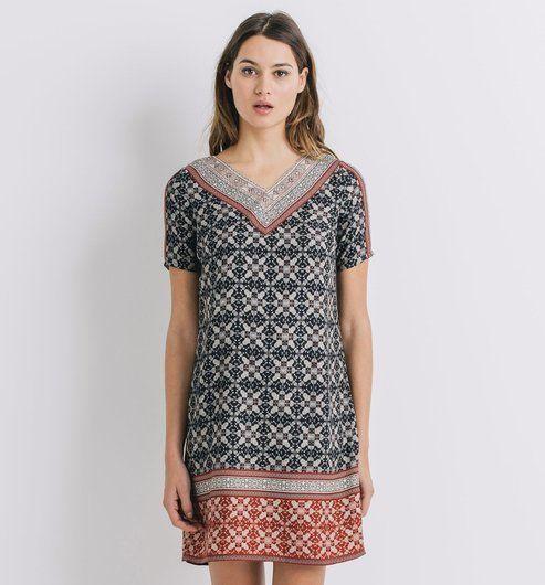 Robe tunique imprimée Femme imprimé noir - Promod