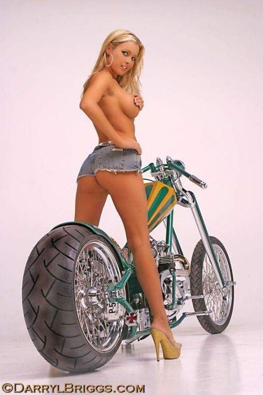 Blonde In Denim Shorts And Her Custom Motorcycle Babes Bikes Bike Motorcycle Biker Girl