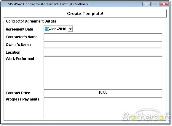 Construction Contract Template | ... Agreement Template Software, MS Word Contractor Agreement Template