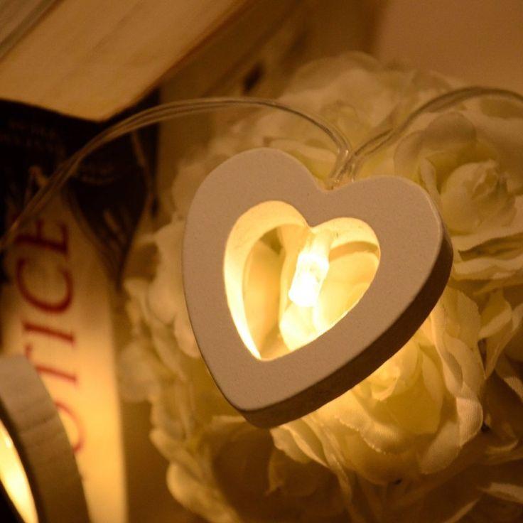 10 LED Warm Wooden Heart Shape String Fairy Lights For Wedding Decoration - Wedding Look