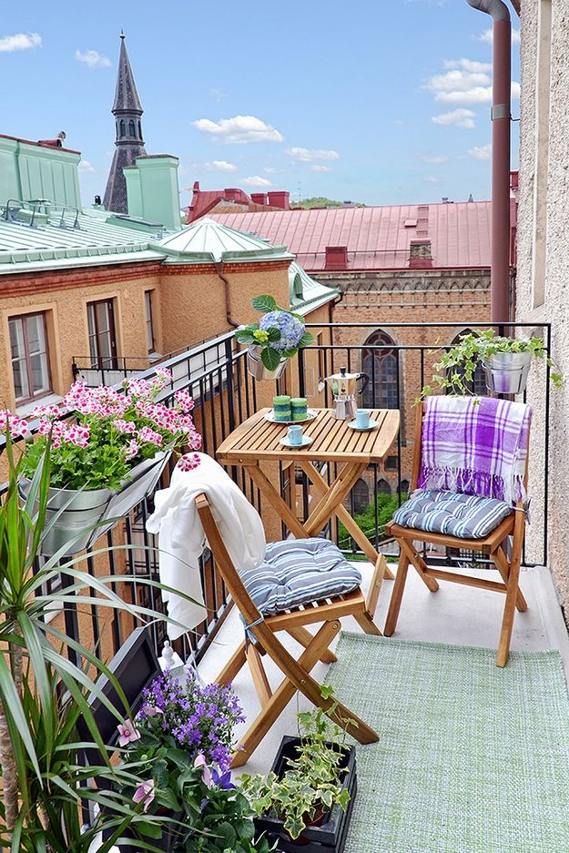 balcony outside a three room apartment. Gothenburg, Sweden.
