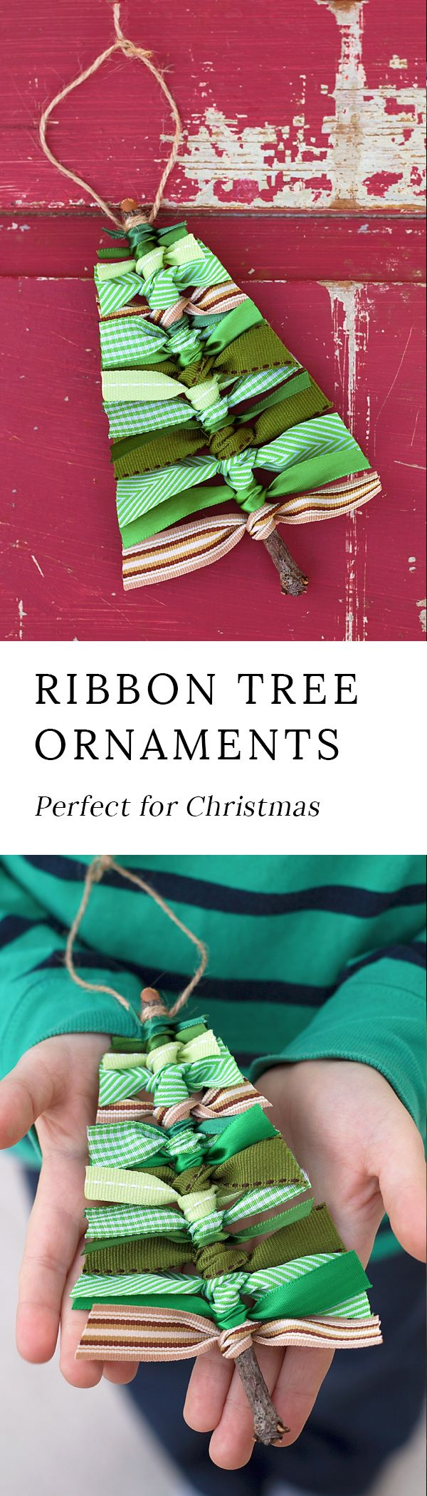 Use sticks and scraps of green ribbon to make this rustic Scrap Ribbon Tree Ornament.  It's the perfect homemade Christmas ornament for kids! #christmas #christmasornaments #christmastree