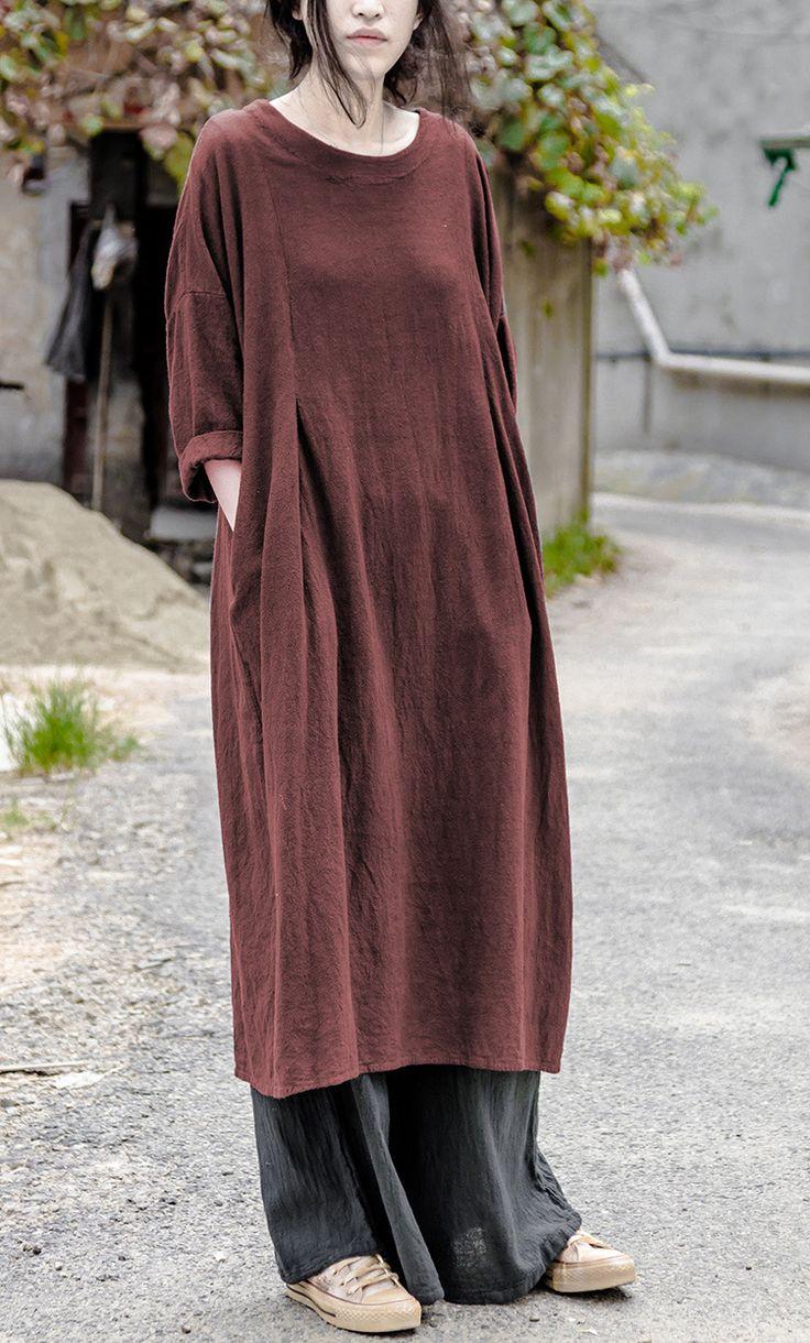 Aliexpress.com: Koop Original Design Herfst Women Vlak Kleur Dik vlas met lange mouwen Longuette katoen en linnen Vrouwen jurk Mori Dress N473 uit betrouwbare linnen jurken vrouwen leveranciers Katoen Linnen Huis