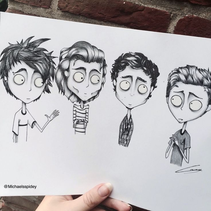 5SOS tim burton style by Michaelsspidey on twitter..... I FUCKING LOVE THIS