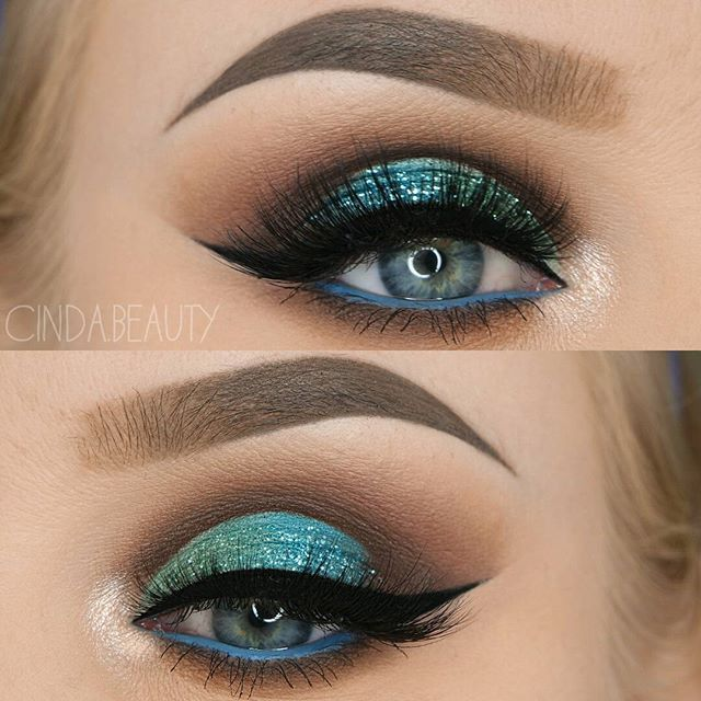 WEBSTA @ cinda.beauty - Minty Turquoise Half Cut-Crease Makeup Look with a loooot of Glitter 💙💙💙 BROWS@anastasiabeverlyhills @norvina #DipBrow Pomade in 'Taupe'   Tinted Brow Gel in 'Granite'@sigmabeauty Brow Powder Duo in Medium LASHES@lotuslashesofficial in '501' EYES@anastasiabeverlyhills #abhshadows in 'Aqua' @tartecosmetics Tarteist Clay Paint Liner@makeupgeekcosmetics in 'Poolside'@morphebrushes 35O Palette @saturated_colour Multitasker Pencil in 'Greek Blue'…