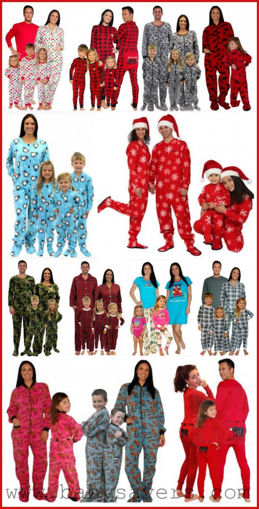 Christmas pajamas for the family footie and footed styles for Funny matching family christmas pajamas