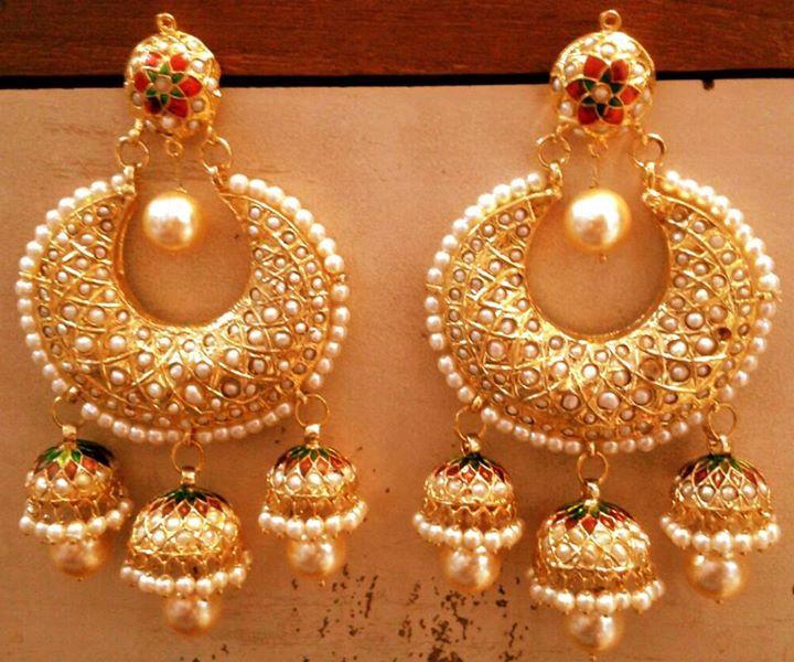 Ethnic jadau pearl stud chand bali jhumki earring