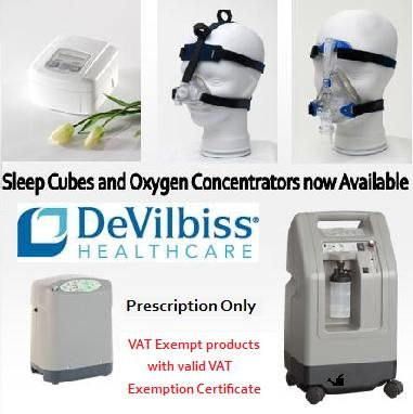 New in!! We now have Sleep Apnea Cubes and Oxygen Concentrators available to buy in our online store with a prescription.  They are also VAT Free with a valid VAT Exemption Certificate.
