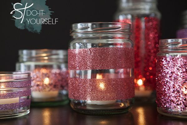 #DIY Martha Stewart Glittered Glass Jars, so easy - it's just double sided tape!