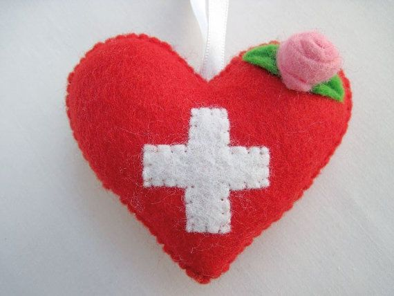 Felt SWITZERLAND Flag Love Heart with Roses by AppledoorStudio, £7.99