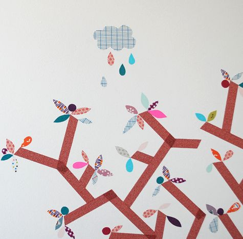 Washi tape mural by Ninainvorm... do pop by her lovely blog for a peek at the entire mural... :)