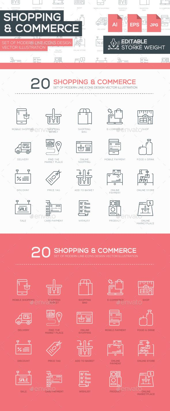 Set of Modern Line Shopping Icons Design #design Buy Now: http://graphicriver.net/item/set-of-modern-line-shopping-icons-design-/12875114?ref=ksioks