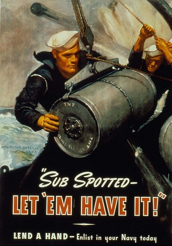 """Sub Spotted. Let 'em have it!"" Lend a hand - Enlist in your Navy today. Poster by McClelland Barclay, 1942. Missouri History Museum Photographs and Prints Collections. World War II. N34661."