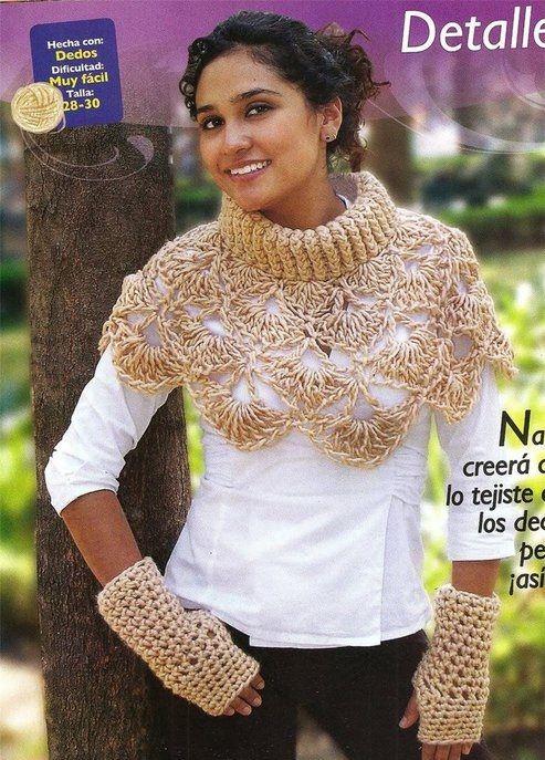 Patrones Crochet Bufanda,Cuello Alto con Diferentes Tamaños de Ganchos