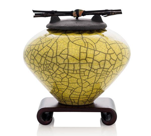 Handmade Raku Ceramic Keepsake or Pet Urn in Chartreuse