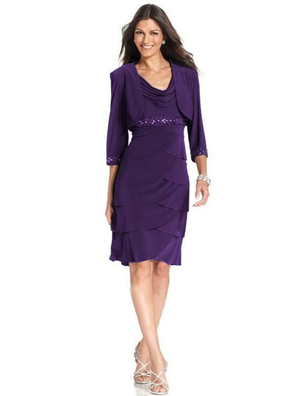 Two Pieces 2016 Plus Size Mother Of The Bride Purple Dresses With Jecket Knee Length Evening Gowns Fall Mother Of The Bride Dresses Grandmother Of The Bride Dress From Orientalrose, $119.6| Dhgate.Com