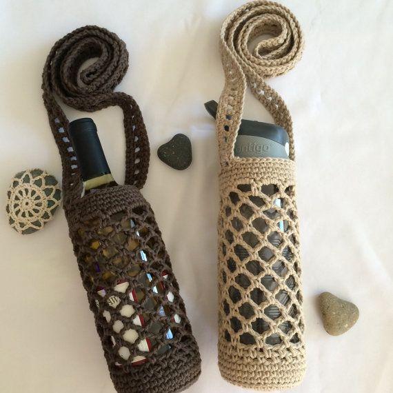 Crochet Water Bottle Holder - Wine Bottle Holder - Large water bottle holder…