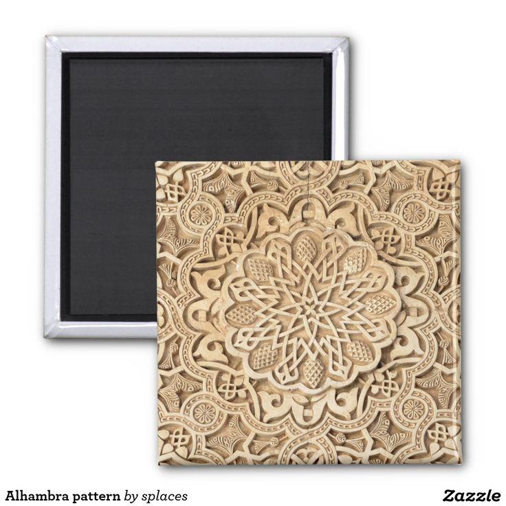 Alhambra pattern. Granada, Spain 2 inch square magnet