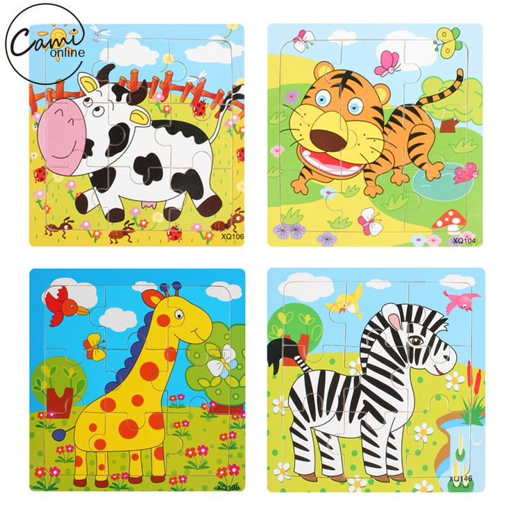 Educational 3D Cartoon Animals Wooden Jigsaw Puzzles Toys Kids Baby Games Toy Wood Puzzle Children Intelligence Development Toys