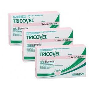 PACK PROMOCIONAL - tratamento para 3 meses Tricovel TricoAge+   é utilizado quando a mulher tem falta de estrogénios e o cabelo torna-se fino, frágil, quebradiço, seco, sem flexibilidade, opaco e dificil de pentear. Trivovel TricoAge+  é rico em Ómega 6, Rutina e Isoflavonas de Soja. Faz parte da sua composição a Biogenina ® um composto de micronutrientes. .  Contém também Cobre, Zinco e Ácido Fólico.