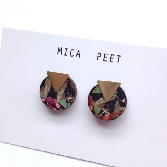 Circle & Brass Triangle Geometric Earrings / Studs Geometric Jewellery