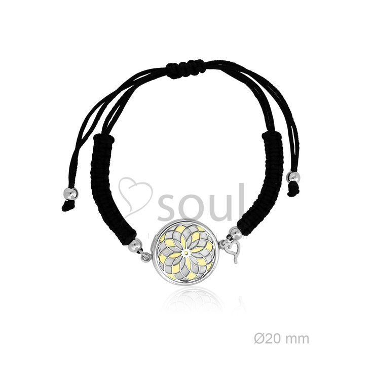REF. 364003. Pulsera Mandala. Pulsera de macramé con motivo en nácar u ónix en plata de Ley.