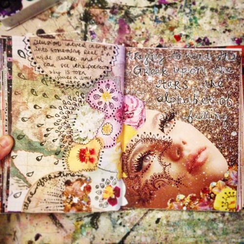 More faces and flowers and stars. Art journal pages by Jenndalyn. #artjournal…