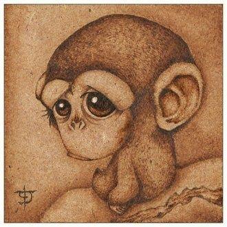 woodburned monkey - Dibujando.net