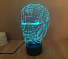 Free Shipping 1Piece 3D color changeable Avengers Iron Man Helmet Model LED Night Light USB 3D LED Mood Lamp For Christmas Gifts
