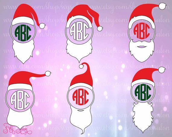 Cappello di Natale Babbo Natale e la barba del monogramma telaio HTV / Set di adesivi in vinile taglio File in Svg, Eps, Dxf e Jpeg