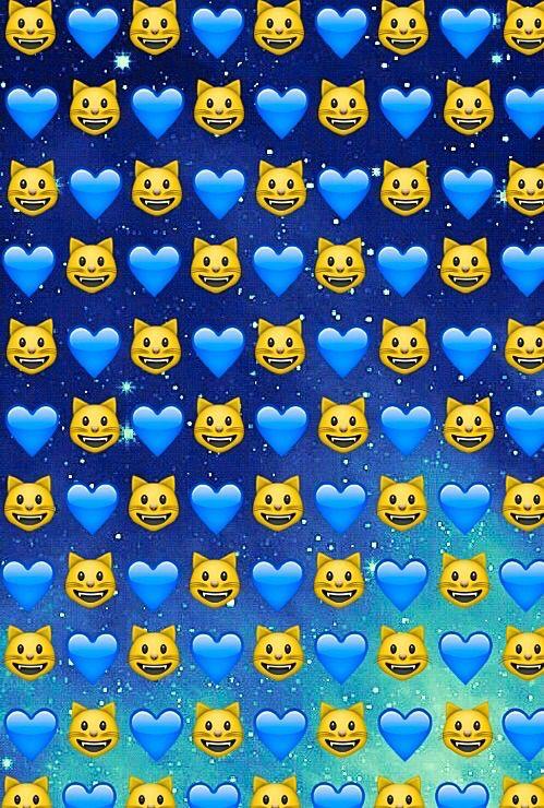 background, cats, emoji, galaxy, hearts, space, stars