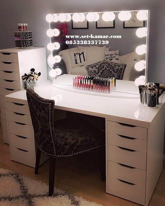 Meja Rias lampu | Meja Make Up Minimalis Wrna Putih Murah - Set Kamar | Furniture Kamar | Kamar Tidur Anak Minimalis | Tempat Tidur Tingkat