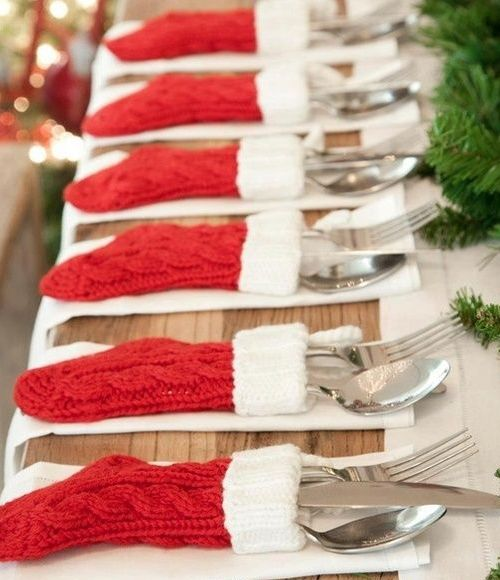 Christmas Table Decor Ideas - Sock Cutlery Holders - Click pic for 29 Christmas Craft Ideas