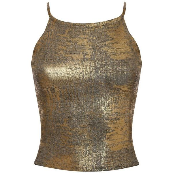 Pilot Libby Metallic Foil Effect Fine Knit Strappy Crop Top (£13) ❤ liked on Polyvore featuring tops, gold, night out tops, holiday party tops, crop top, brown crop top and strappy crop top