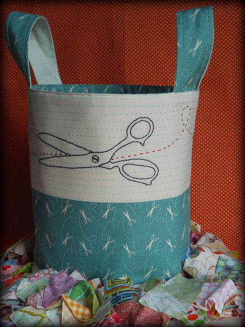 I just adore this!  The background fabric even looks like primary printing paper! (Scrap Bucket by Nova Flitter in Issue 5 of Fat Quarterly)