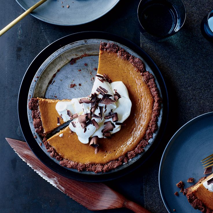 Learn to make this delicious riff on pumpkin pie with a chocolate cookie crust at Food & Wine.