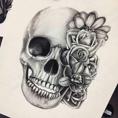 Skull and flower ♥