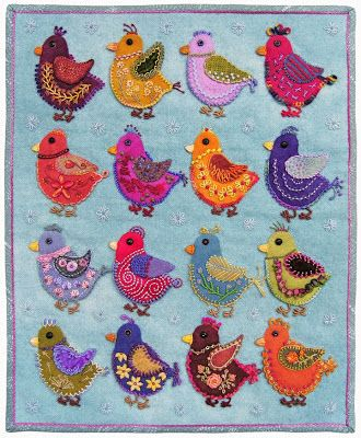 Robin Atkins, chicks, wool applique, bead and thread embroidery, finished wall quilt