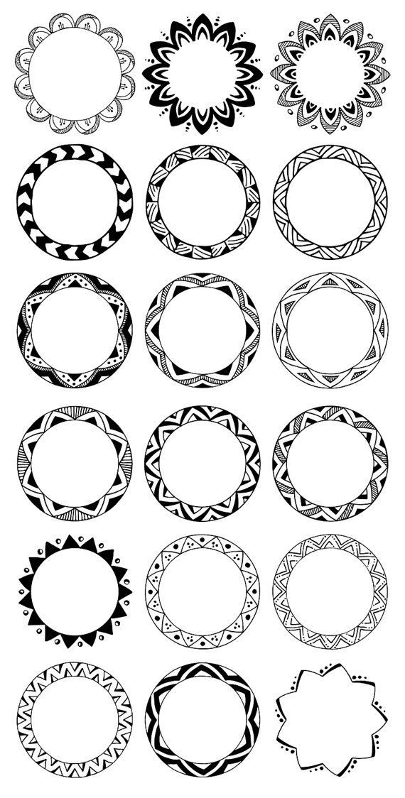 36 Hand Drawn Decorative Round Frames, Circle Borders Tribal, Boho