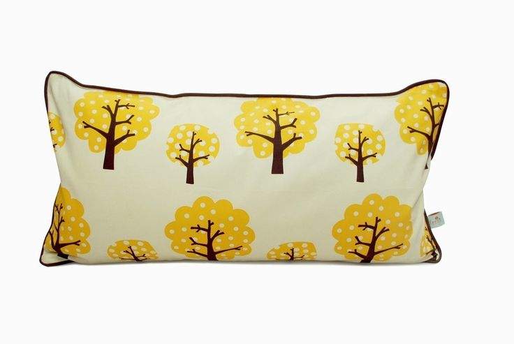 Dotty Cushion - Yellow. Only the best will do for the little ones, our Playful Pillows are made of 100% organic cotton. To make the pillows nice and soft, we have filled them with down.