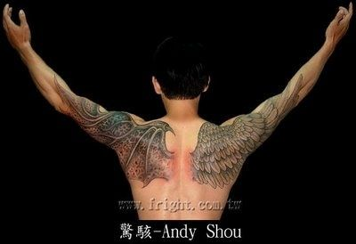 This is the same sort of theme that Deven's tattoos have: angel vs. demon – but his are full sleeves, and done to look like stained glass.  Still, this is awesome.