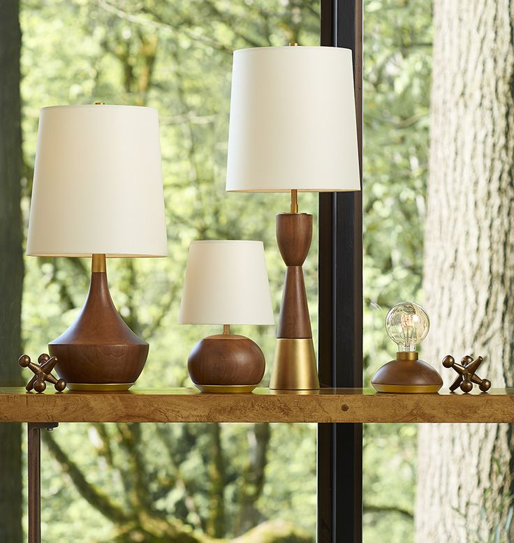 Rejuvenation Mid-Century Wood and Brass table lamps