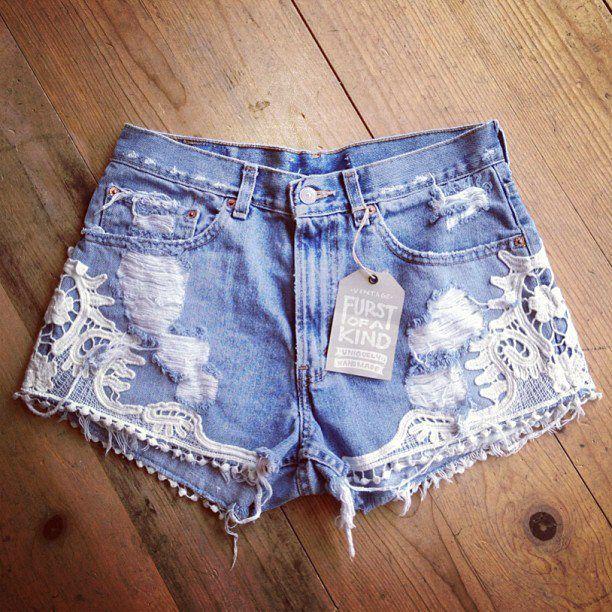 denim crochet and lace beautiful boho chic summer shorts
